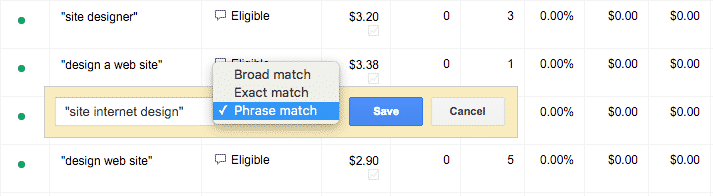Match Types in Adwords