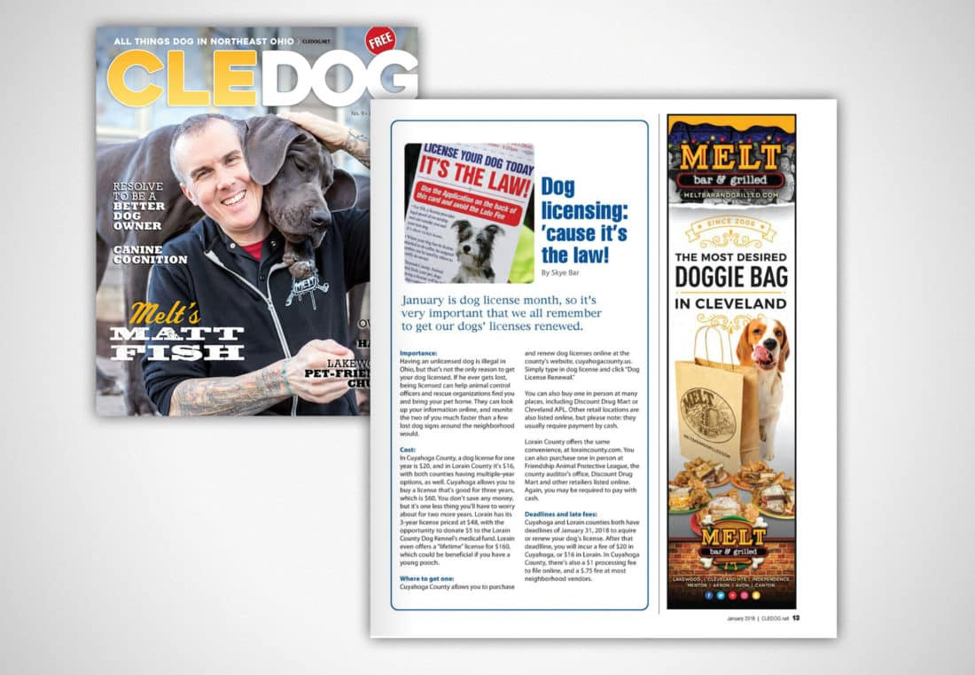 "Melt Bar and Grilled: CLE Dog Magazine ""Doggie Bag"" Ad"