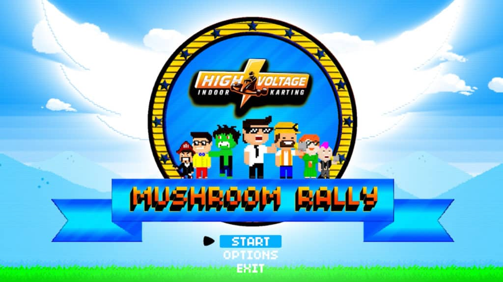 Retro video game title screen displaying thunder bolt High Voltage Karting Logo and pixel character cheering